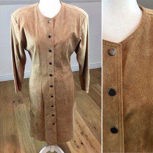 Vintage Suede Leather Midi Dress Size Medium